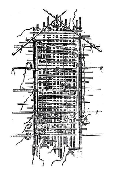 Plan du radeau de La Méduse, au moment de son abandon