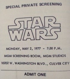 Un billet pour la projection privée de Star Wars aux studios MGM le 2 mai