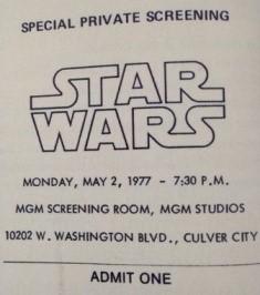 Un billet pour la projection privée de Star Wars aux studios MGM le 2 mai