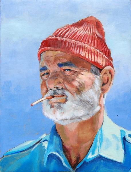 Peinture représentant Steve Zissou joué par Bill Murray